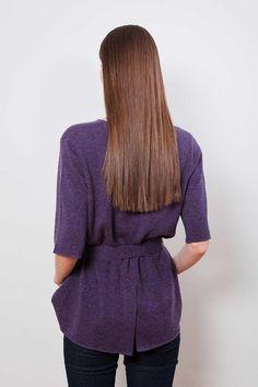 "Arela AW14 collection ""Clement Days"". Esme cashmere t-vest with belt in Gloucester violet. Photography Markus Pajuniemi, model Caroline Farneman / Brand, muah Emelie Tuuminen"