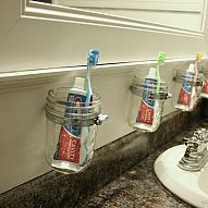 Separate mason jar for the bathroom and easy to dishwasher once a week. Love this idea for the kids bathroom!