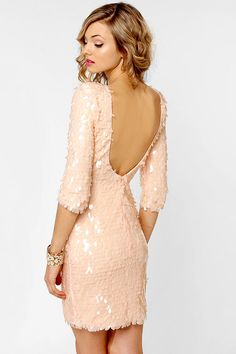 Pale Pink Sequin Dress - New Year's Eve Dress. Sparkle and Glitter.