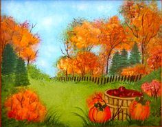 Fall landscape.  One Stroke Painting by Susan Earl.