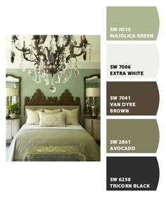 Green & Brown Master bedroom by Sherwin-Williams (I like the mirrors above the bedside tables.)