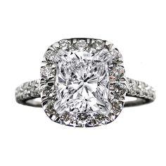 Engagement Ring - Cushion Diamond Vintage Halo Engagement Ring