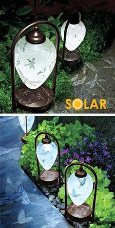 Solar LED Etched Dragonfly Lights, Solar Etched Dragonfly Lights require no hard wiring or batteries. And that dragonfly pattern that makes the shade pretty by day is cast on the ground at night! :)))))