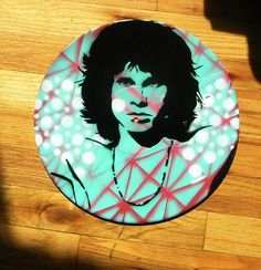 Jim Morrison SprayPainted on Native RetroStyle Record by AceTroy, $25.00