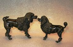 2 Austrian Vienna Bronze Sculptures of Dogs Poodles