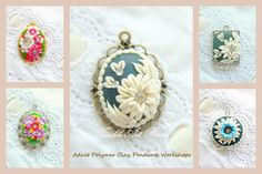 Pretty, floral, polymer clay pendants.
