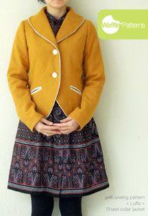 digital luffa shawl collar jacket sewing pattern