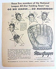 1959 MacGregor Baseball Glove w/ Robinson, Mays & More