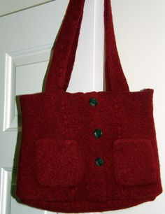 Christmas Red Felted Tote bag purse with two front pockets and one inside pocket. High quality wool felt