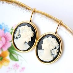 Black Cameo Earrings by Nest Pretty Things Shop on Etsy: www.etsy.com/...
