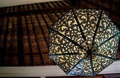 Hand cut ironwork chandelier