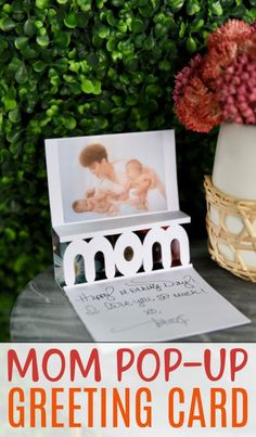 This 3D Mom Pop-Up Greeting Card is a card and a gift all in one! Once you learn the technique for making this, you can use any word or number you want to convey the message you'd like. #cricut #cricutexplore #cricutmaker #cricutmade #cricutprojects