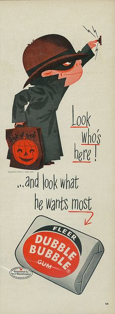 Nostalgically cute Halloween themed Dubble Bubble chewing gum ad. #gum #candy #ad #vintage #retro #kids #Dubble_Bubble #Halloween