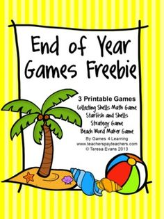 End of Year Games FREEBIE by Games 4 Learning is a collection of 3 printable games for End of Year celebrations!   It includes 3 printable End of Year games that will keep kids learning and let them have fun!