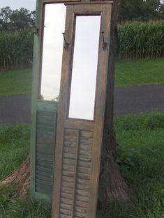 Vintage Shutter Repurposed into Leaning or Hanging Mirror & Hat Rack .