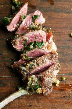 Pan-Seared Lamb Chops with Toasted Bread Crumb Salsa food, toast breadcrumb, lambs, breads, lambchop, recip, lamb chops, pansear, bread crumbs