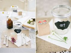 Mason jars with chalkboard labels