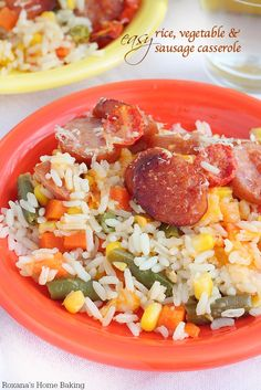 Dinner ready in a jiffy with this easy rice, vegetables and sausage casserole. only 5 minutes of prep time!