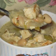 White Chili:  I changed a little, but overall very similar and was very good and I figure pretty good for u.  I left out cream cheese and was just fine (fewer calories)....oh and used turkey breast.