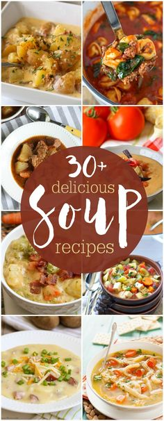 A great collection of 30+ soup recipes that will be perfect to enjoy this fall. From chowders to stews, these soups will sure to be a hit!