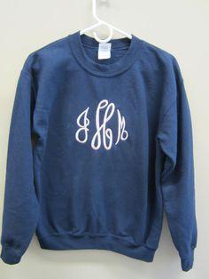 Monogrammed Crewneck Sweatshirt by monogram4u on Etsy, $29.99