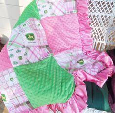JOHN DEERE baby blanket comforter bedding Girls by carolynavann, $99.00