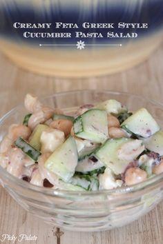 Creamy Feta Greek Style Cucumber Pasta Salad, healthy and fresh!