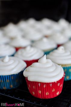 BEST EVER Vanilla Texas Sheet Cake Cupcakes with Cream Cheese Frosting ~ quick and easy homemade cupcakes that only require one pot, a few minutes to whip up, and everyone will ask for the recipe! | FiveHeartHome.com