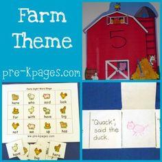 Lots of ideas for preschool, pre-k, or kindergarten farm theme via   www.pre-kpages.com/farm/