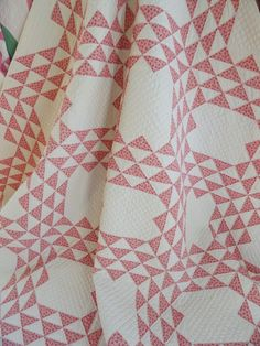 c1880s Double Pink Ocean Waves Antique Quilt  Gorgeous Quilting! Vintageblessings