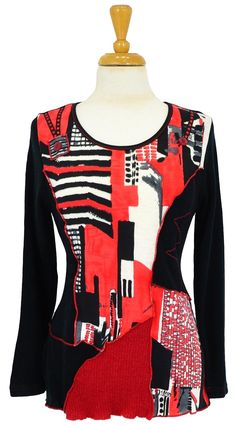 Red City Pattern Tunic~ Best selection of Tunics & matching accessories ~ Flat postage worldwide ~ Petite to Plus sizes ~ www.ilovetunics.com