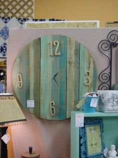 Wall clock made from old fence boards! Love it. Old fence boards
