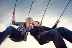 kiss, engagement pictures, park, engagement photos, engagements, engagement pics, photo idea, swing, engag photo
