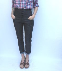 High Waist Skinny Jeans in Dark Denim by trapperjane on Etsy
