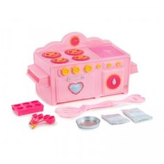 The Lalaloopsy Baking Oven is a mini electric oven that lets kids bake a strawberry cake and shaped sugar cookies.