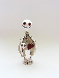 Halloween  Doll - Skeleton Doll - Button Eyed Doll - Made To Order.  via Etsy.