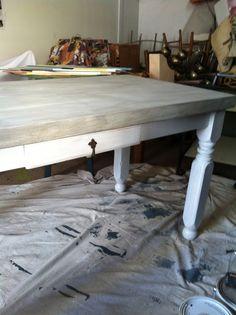Whitewashed table repurpos find, dine room, kitchen dream, tabl project, whitewash tabl, coffe tabl, live area