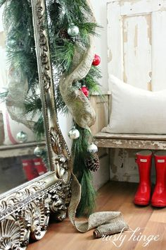 so festive and jolly! mirror, christmas time, red boots, christmas deco, burlap christmas, christma decor, merri christma, noelmerri cristma, christmas garlands