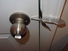 Use a Broken Metal Fork as a Quick Door Lock