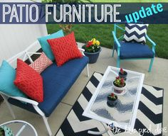 Patio Furniture - Need to add some life to your outdated patio furniture? A little spray paint, and new accessories can certainly liven it up! theblueeyeddove.com