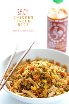 Spicy Chicken Fried Rice. Ready to go in less than 20 minutes. spicy #chicken #fried #rice