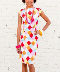 Pink Checkerboard Pop Mode Dress by Shabby Apple #zulilyfinds