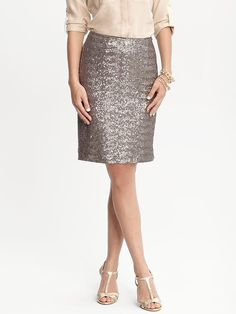 Sequin skirt from Banana Republic. Wear it day or night and as a neutral silver color, you can pair it with any color top.