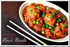Veggie balls in hot garlic sauce