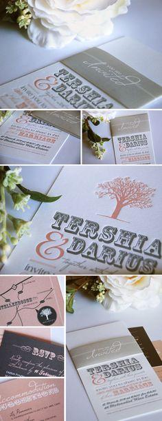 Soft Pink and Grey Letterpressed Wedding Invitations.