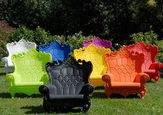 Plastic chairs for the backyard!  I love these! armchair, garden chairs, lawn, color, alice in wonderland, outdoor chairs, the queen, patio, backyard