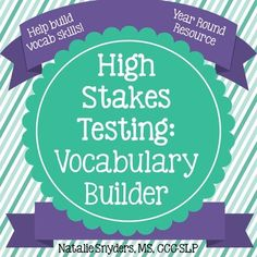 "Help your students learn valuable vocabulary words often found in the directions of standardized tests with this year-round ""High Stakes Testing: Vocabulary Builder"" product, which targets one word per week."