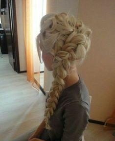 "Elsa hair from ""Frozen"". Got the long hair. Lack the talent."