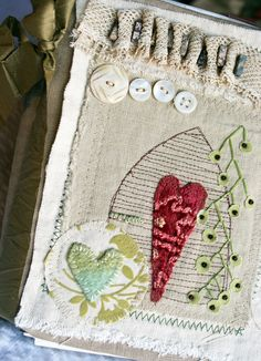 Art Quilt Journal (hearts and vines)