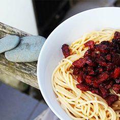 Spaghettis chorizo vinaigre balsamique